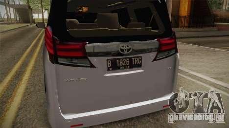 Toyota Alphard 3.5G 2015 v2 для GTA San Andreas вид сбоку
