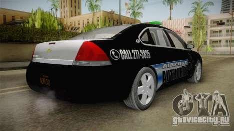 Chevrolet Impala 2009 Airport Authority для GTA San Andreas вид сзади слева