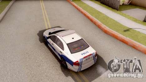 Ford Fusion 2011 Turkish Police для GTA San Andreas вид сзади