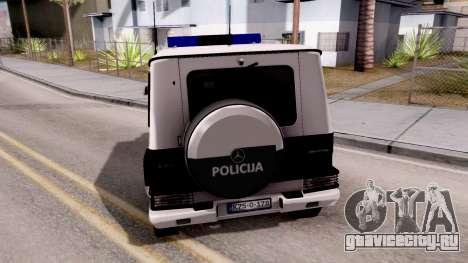 Mercedes-Benz G65 AMG BIH Police Car для GTA San Andreas вид сзади слева
