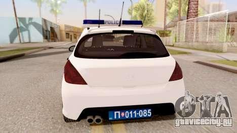 Peugeot 308 Policija для GTA San Andreas вид сзади слева