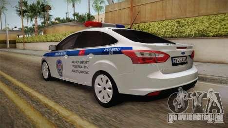 Ford Focus 1.6 Turkish Police для GTA San Andreas вид сзади слева