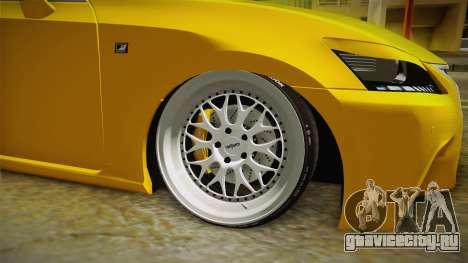 Lexus GS350 F Sport IV Slammed 2013 для GTA San Andreas вид сзади