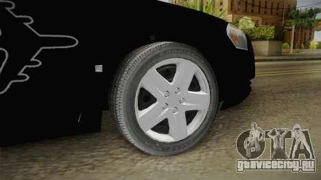 Chevrolet Impala 2009 Airport Authority для GTA San Andreas вид сзади