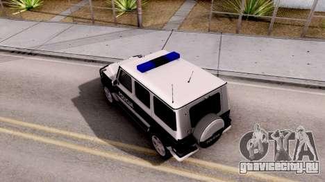 Mercedes-Benz G65 AMG BIH Police Car для GTA San Andreas вид сзади