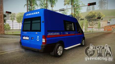 Ford Transit Turkish Gendarmerie для GTA San Andreas вид сзади слева