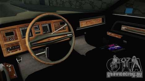 Lincoln Continental Mark IV 1972 для GTA San Andreas вид изнутри