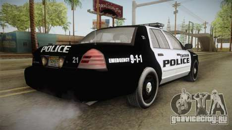 Ford Crown Victoria 2009 Chatham, New Jersey PD для GTA San Andreas вид сзади слева