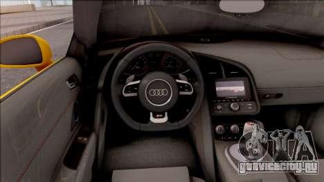 Audi R8 Cabriolet для GTA San Andreas вид изнутри