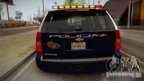 Chevrolet Tahoe Spanish Police для GTA San Andreas вид сзади