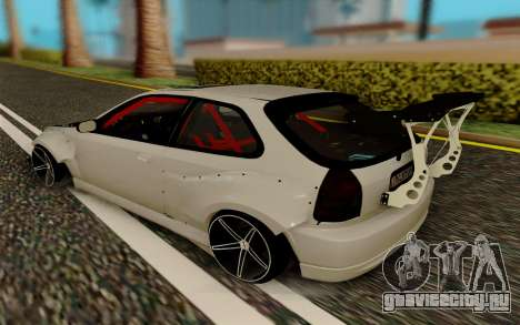 Honda Civic 98 Hatch Rocket Bunny для GTA San Andreas вид сзади слева