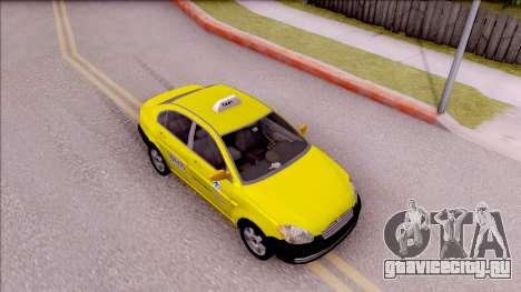 Hyundai Accent Taxi Colombiano для GTA San Andreas вид справа