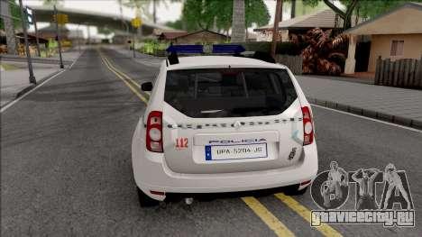 Renault Duster Spanish Police для GTA San Andreas вид сзади слева
