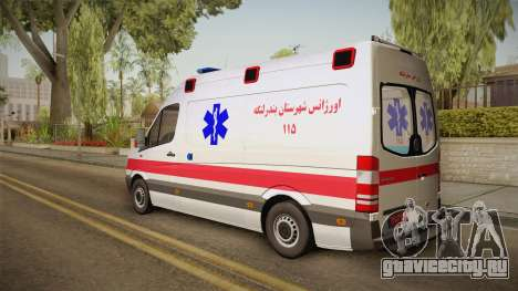 Mercedes-Benz Sprinter Iranian Ambulance для GTA San Andreas вид слева