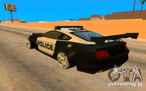 Ford Mustang GT 2015 Police Car для GTA San Andreas вид сзади слева