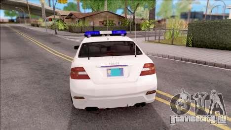 Vapid Police Interceptor Hometown PD 2012 для GTA San Andreas вид сзади слева