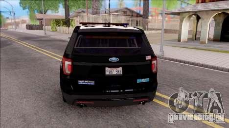 Ford Explorer Police Interception для GTA San Andreas вид сзади слева