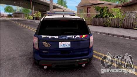 Ford Explorer Spanish Police для GTA San Andreas вид сзади слева