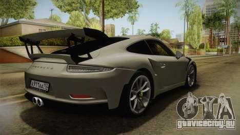 Porsche 911 GT3 RS 2015 для GTA San Andreas вид сзади слева