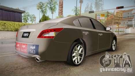 Nissan Maxima 2011 для GTA San Andreas вид сзади слева
