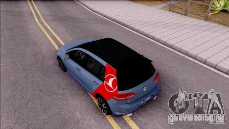 Volkswagen Golf 7 GTI Turkish Airlines для GTA San Andreas вид сзади