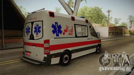 Mercedes-Benz Sprinter Iranian Ambulance для GTA San Andreas вид справа