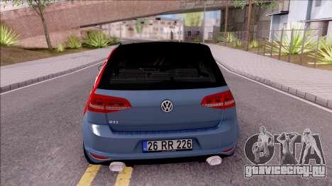 Volkswagen Golf 7 GTI Turkish Airlines для GTA San Andreas вид сзади слева
