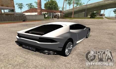Lamborghini Huracan 2014 Armenian для GTA San Andreas вид сзади слева