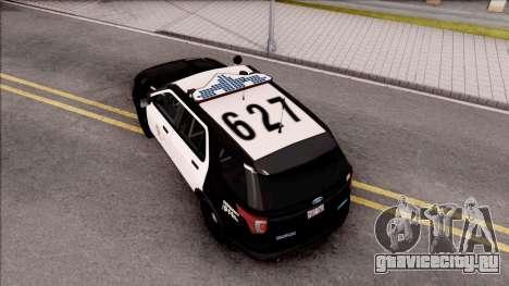 Ford Explorer Police Interception для GTA San Andreas вид сзади