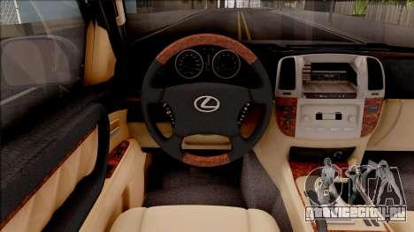 Lexus LX470 2003 для GTA San Andreas вид изнутри