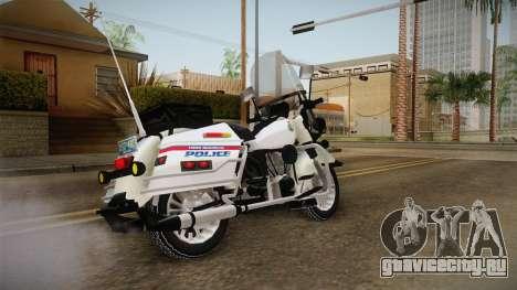 Harley-Davidson Police Bike YRP для GTA San Andreas вид сзади слева
