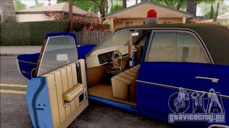 Plymouth Fury 1972 Housing Authority Police для GTA San Andreas вид изнутри