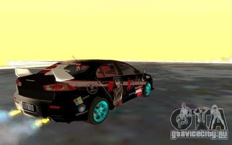 Mitsubishi Lancer Evolution для GTA San Andreas вид сверху