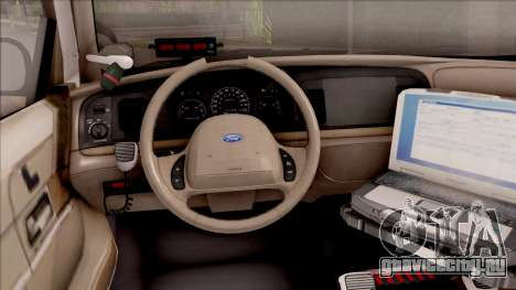 Ford Crown Victoria Central City Police для GTA San Andreas вид изнутри