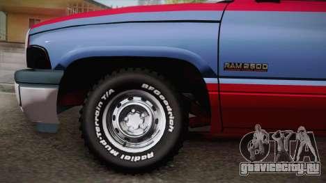 Dodge Ram 2500 Towtruck для GTA San Andreas вид сзади слева