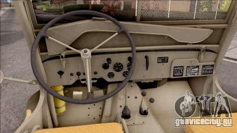 Jeep Willys MB 1945 для GTA San Andreas вид изнутри