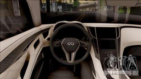 Infiniti Q60 для GTA San Andreas вид изнутри