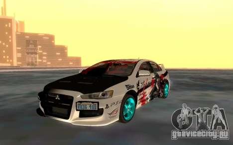 Mitsubishi Lancer Evolution для GTA San Andreas вид изнутри