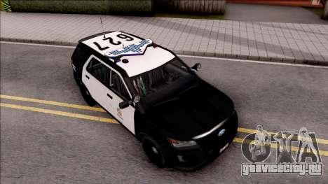 Ford Explorer Police Interception для GTA San Andreas вид справа