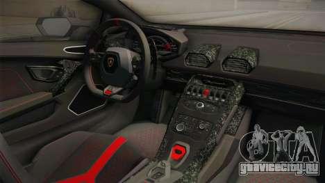 Lamborghini Huracan Performante LP640-4 2017 v1 для GTA San Andreas вид изнутри