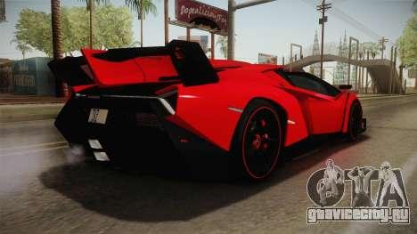 Lamborgini Veneno Roadster 2014 IVF v2 для GTA San Andreas вид слева