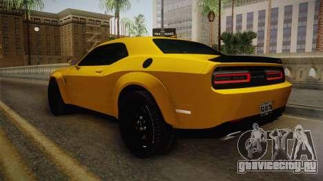 Dodge Challenger Demon 2018 для GTA San Andreas вид сзади слева