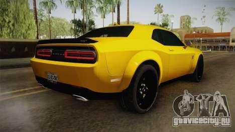 Dodge Challenger Demon 2018 для GTA San Andreas вид слева