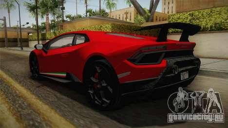 Lamborghini Huracan Performante LP640-4 2017 v1 для GTA San Andreas вид сзади слева