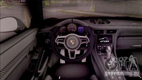 Porsche 911 GT2 RS 2017 SA Plate для GTA San Andreas вид изнутри