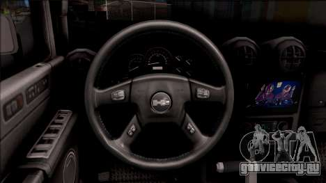 Hummer H2 Batman Edition для GTA San Andreas вид изнутри