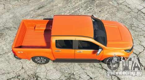 Chevrolet S10 Double Cab 2017 [replace] для GTA 5 вид сзади
