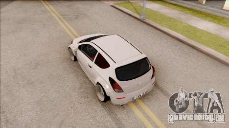 Hyundai i20 для GTA San Andreas вид сзади