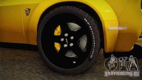 Dodge Challenger Demon 2018 для GTA San Andreas вид сзади