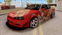 Nissan Skyline GT-R R34 RB Itasha Yuuki Asuna для GTA San Andreas